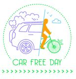 Icon World Car free Day. Banner of the holiday - car free day. Icon in the linear style vector illustration
