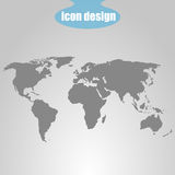 Icon of world map on a gray background. Vector illustration Stock Image