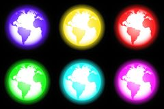 Icon world neon style (01). Series of six icons or buttons globe. neon-style on black background royalty free illustration