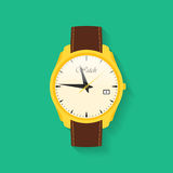 Icon of wrist watch. Symbol of hand clock. Vector illustration of timepiece, chronometer Royalty Free Stock Images