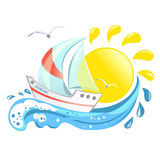 Icon with the yacht, wave and sun. Vector illustration Stock Image