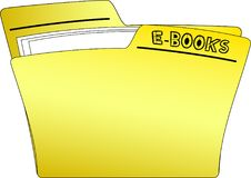 Icon E-Books Folder - Vector. The icon of a yellow folder containing some documents and having the write E-BOOKS - vector Stock Image