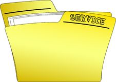 Icon Service Folder - Vector. The icon of a yellow folder containing some documents and having the write SERVICE - vector Stock Image
