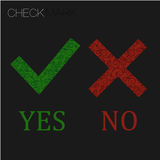 Icon Yes and no. green check mark and red wrong, sign tick cross Royalty Free Stock Photo