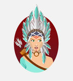 Icon of a young North American Indian woman Royalty Free Stock Image
