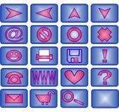 icona 20 impostata (azzurro e colore rosa) Immagini Stock
