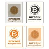 Icona accettata di Bitcoin Fotografia Stock