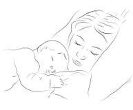Icona addormentata del bambino e della madre Fotografie Stock Libere da Diritti