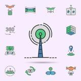 Icona al neon colorata rete satellite del segnale Elementi dell'insieme di realt? virtuale Icona semplice per i siti Web, web des fotografia stock
