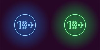 Icona al neon del limite di età per 18 di sotto Fotografia Stock Libera da Diritti