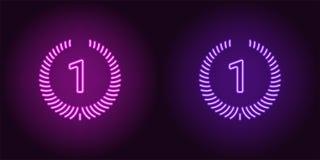Icona al neon della porpora e di Violet First Place illustrazione di stock
