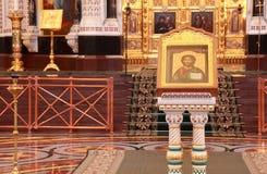 Icona all'interno della cattedrale di Christ il salvatore Fotografie Stock Libere da Diritti