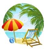 Icona alla chaise-lounge del sole e della spiaggia Immagini Stock