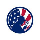 Icona americana della bandiera di U.S.A. delle detective illustrazione vettoriale