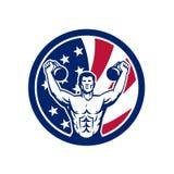 Icona americana della bandiera di U.S.A. di idoneità fisica illustrazione di stock