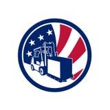 Icona americana della bandiera di U.S.A. di logistica illustrazione di stock