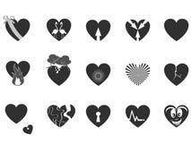 Icona amorosa nera del cuore Fotografia Stock Libera da Diritti