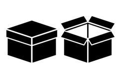Icona aperto-chiuso della scatola Fotografie Stock