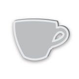 Icona appiccicosa della tazza isolata su fondo bianco Immagine Stock Libera da Diritti