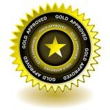 Icona approvata dell'oro Fotografia Stock Libera da Diritti
