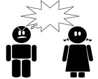 Icona arrabbiata della ragazza e del ragazzo Immagine Stock Libera da Diritti