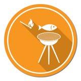 Icona arrostita del pesce Fotografia Stock