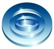 Icona astratta brillante blu di tecnologia su fondo bianco Fotografia Stock Libera da Diritti