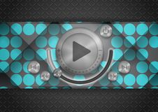 Icona astratta di App di tecnologia con il bottone di musica Fotografie Stock Libere da Diritti