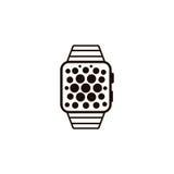 Icona astuta dell'orologio isolata su fondo bianco Illustrati di vettore Fotografie Stock