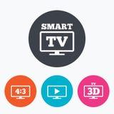 Icona astuta di modo della TV simbolo della televisione 3D Immagini Stock