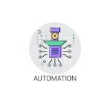 Icona astuta di produzione di industria di automazione industriale del macchinario del robot royalty illustrazione gratis