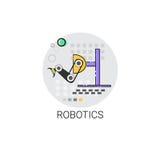 Icona astuta di produzione di industria di automazione industriale del macchinario di robotica illustrazione di stock