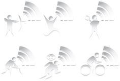 Icona atletica 3D impostata - in bianco e nero Immagine Stock