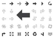 Icona audace della freccia sinistra Icone dell'illustrazione della freccia messe immagini stock