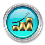 Icona aumentante delle monete di oro Fotografia Stock Libera da Diritti