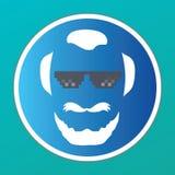 Icona barbuta della testa dell'uomo - vettore - vetri di vita del delinquente - avatar Fotografia Stock Libera da Diritti