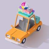 Icona bassa dell'automobile di estate di stile di vettore poli illustrazione di stock