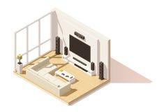 Icona bassa isometrica del salone di vettore poli illustrazione di stock