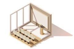Icona bassa isometrica dell'auditorium di vettore poli Immagini Stock