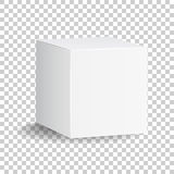 Icona bianca in bianco del contenitore di cartone 3d Illust di vettore del modello del pacchetto della scatola Immagini Stock