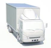 icona bianca del camion di consegna 3d Fotografia Stock