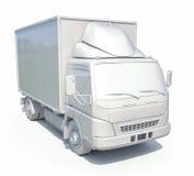 icona bianca del camion di consegna 3d Immagini Stock