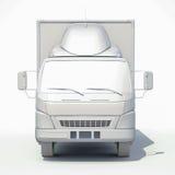icona bianca del camion di consegna 3d Fotografia Stock Libera da Diritti