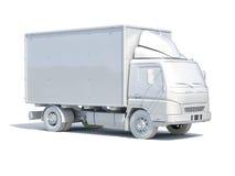 icona bianca del camion di consegna 3d Fotografie Stock Libere da Diritti