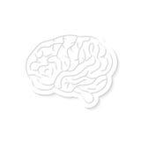Icona bianca del cervello con ombra Fotografia Stock Libera da Diritti
