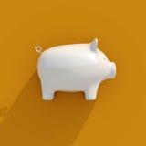 icona bianca del porcellino salvadanaio 3d Immagini Stock