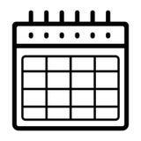 Icona in bianco di vettore dell'orario Illustrazione in bianco e nero del calendario Icona lineare dell'organizzatore del profilo illustrazione vettoriale