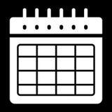 Icona in bianco di vettore dell'orario Illustrazione in bianco e nero del calendario Icona lineare solida dell'organizzatore illustrazione vettoriale