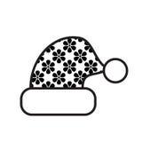 Icona in bianco e nero del cappello di Natale Immagini Stock Libere da Diritti