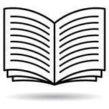 Icona in bianco e nero del libro aperto illustrazione vettoriale